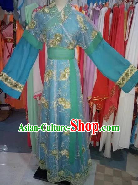 Chinese Traditional Peking Opera Diva Blue Dress Ancient Palace Lady Costume for Adults