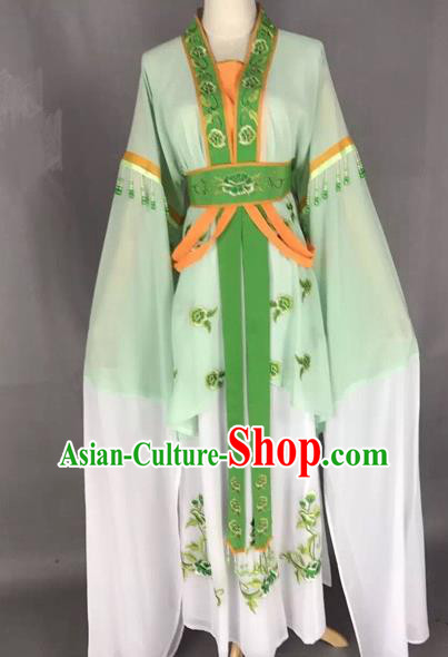 Chinese Traditional Peking Opera Diva Green Hanfu Dress Ancient Palace Princess Costume for Adults