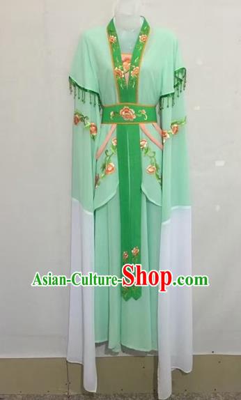 Chinese Traditional Peking Opera Diva Light Green Hanfu Dress Ancient Palace Princess Costume for Adults