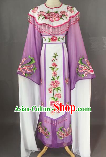 Chinese Beijing Opera Diva Purple Dress Clothing Ancient Princess Costume for Adults