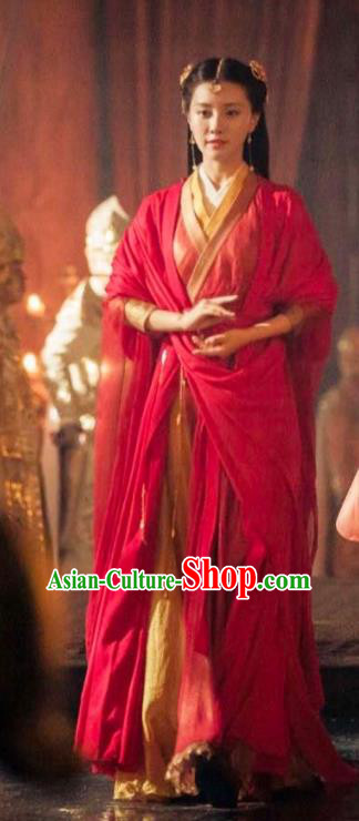 Chinese Ancient Princess Costumes Legend Of Fu Yao Palace Lady Red Dress for Women