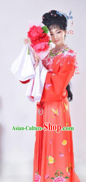 Chinese Traditional Beijing Opera Actress Red Dress Ancient Nobility Lady Costume for Adults