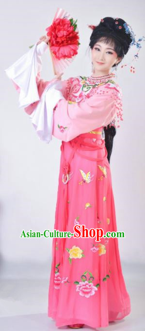Chinese Traditional Beijing Opera Actress Pink Dress Ancient Palace Princess Costume for Adults