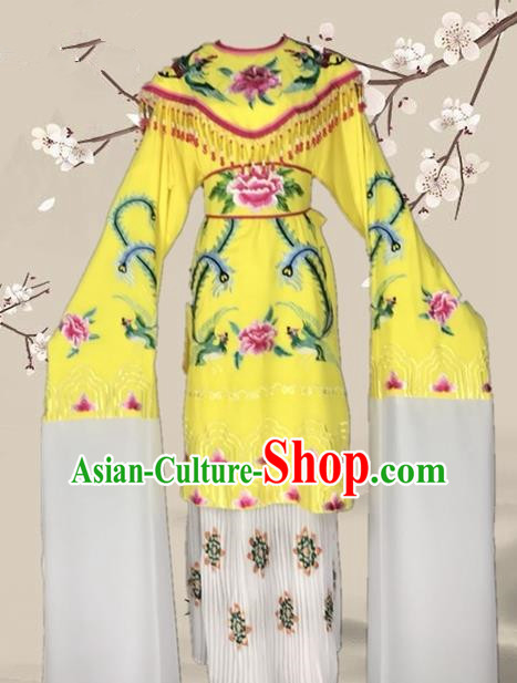 Chinese Traditional Beijing Opera Actress Yellow Dress Ancient Palace Empress Costume for Adults