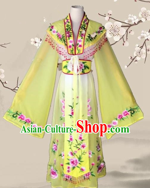 Chinese Ancient Palace Princess Costume Traditional Beijing Opera Actress Yellow Dress for Adults