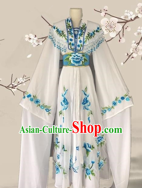 Chinese Ancient Palace Princess Costume Traditional Beijing Opera Actress White Dress for Adults