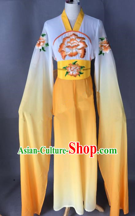 Chinese Ancient Court Maid Costume Traditional Beijing Opera Actress Orange Dress for Adults