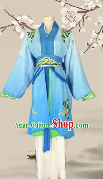 Chinese Ancient Swordswoman Blue Costume Traditional Beijing Opera Martial Arts Women Dress for Adults