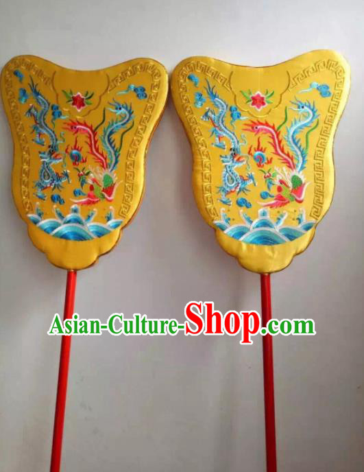 Chinese Traditional Beijing Opera Props Peking Opera Yellow Palace Fans