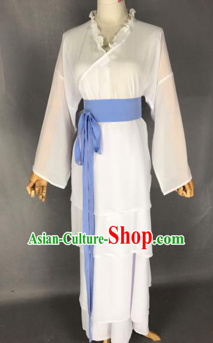 Chinese Ancient Young Lady White Costume Traditional Beijing Opera Diva Dress for Adults