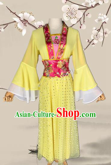 Chinese Ancient Palace Princess Yellow Costume Traditional Beijing Opera Diva Dress for Adults