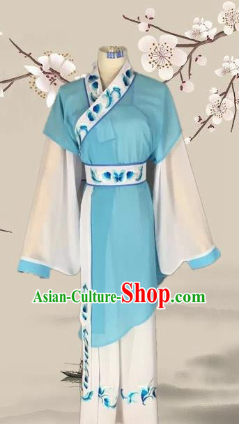 Chinese Ancient Servant Girl Blue Clothing Traditional Beijing Opera Young Lady Costume for Adults