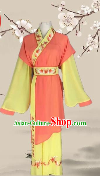 Chinese Ancient Servant Girl Orange Clothing Traditional Beijing Opera Young Lady Costume for Adults