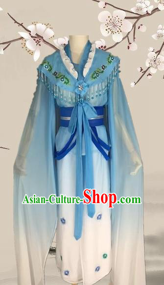 Chinese Ancient Fairy Blue Dress Traditional Beijing Opera Actress Costume for Adults