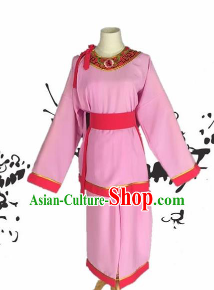 Chinese Beijing Opera Livehand Pink Clothing Traditional Peking Opera Servant Costume for Adults