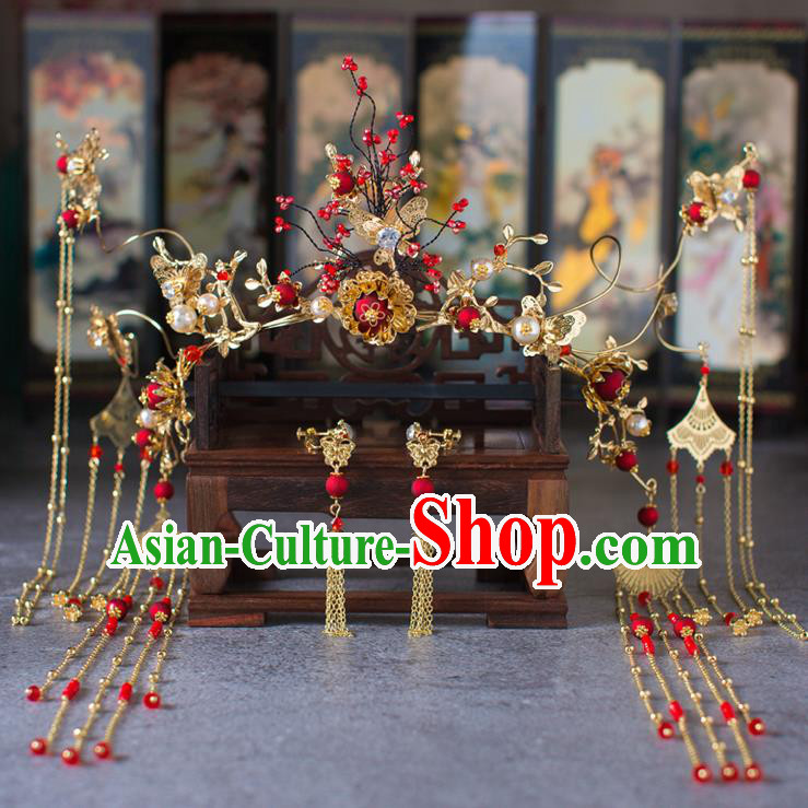Chinese Ancient Red Beads Phoenix Coronet Wedding Hair Accessories Traditional Hairpins for Women