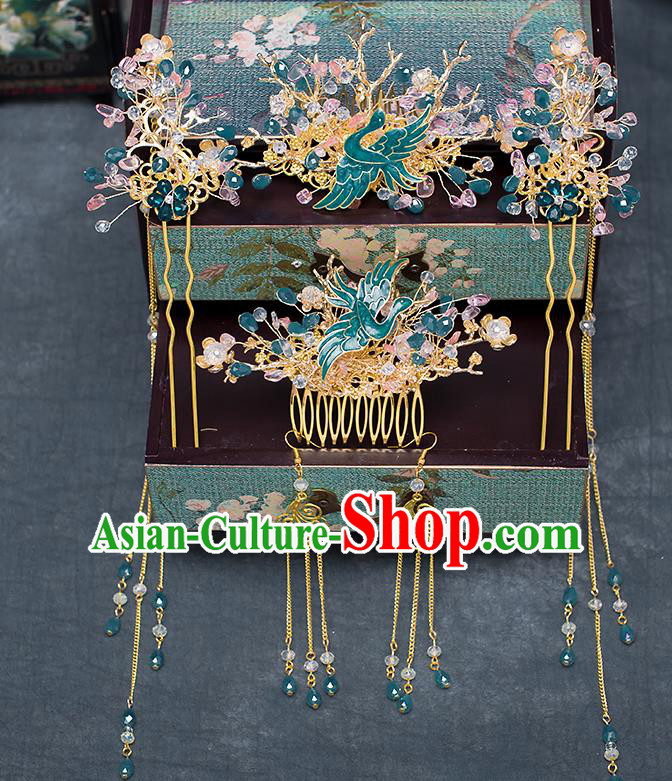 Chinese Traditional Wedding Bride Blueing Crane Phoenix Coronet Ancient Hair Accessories Hairpins for Women