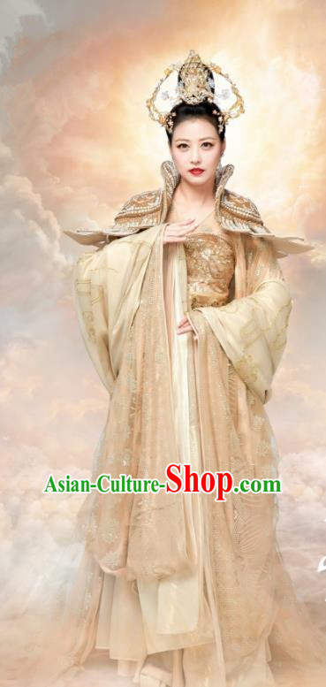 Chinese Ancient Empress Hanfu Dress The Honey Sank Like Frost Queen Costumes and Headpiece for Women