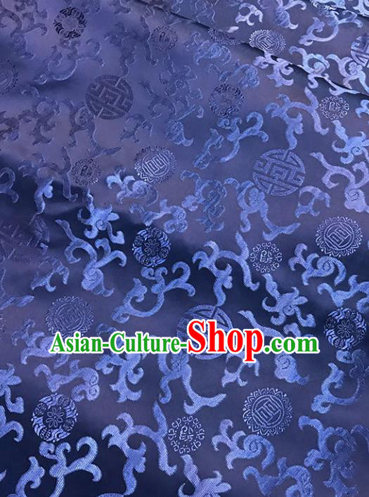 Asian Chinese Traditional Palace Pattern Blue Brocade Fabric Silk Fabric Chinese Fabric Material