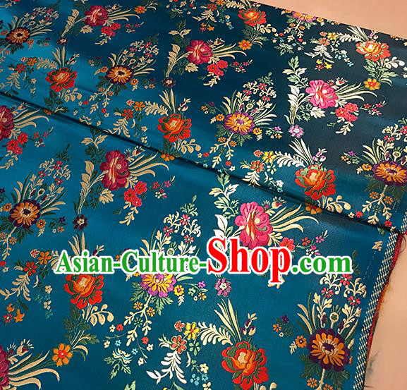 Asian Blue Brocade Chinese Traditional Begonia Pattern Fabric Silk Fabric Chinese Fabric Material