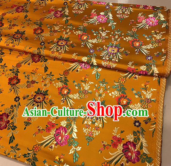 Asian Golden Brocade Chinese Traditional Begonia Pattern Fabric Silk Fabric Chinese Fabric Material