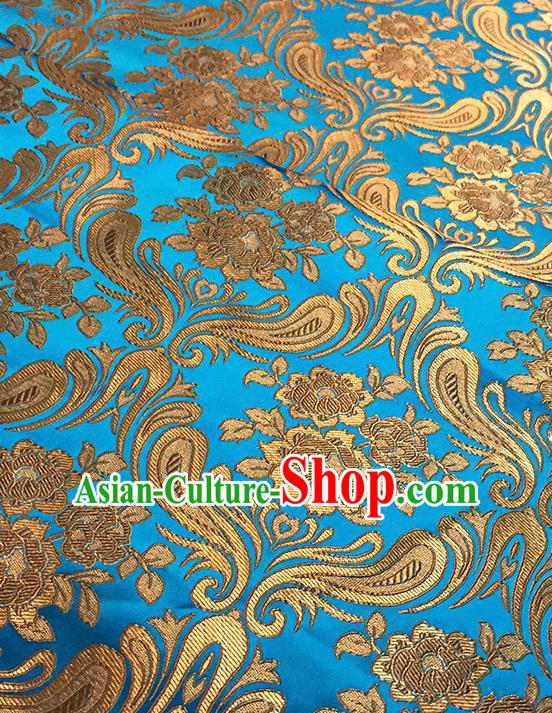 Asian Chinese Blue Brocade Traditional Peony Pattern Fabric Silk Fabric Chinese Fabric Material