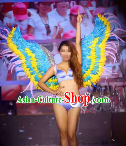 Stage Performance Brazilian Carnival Feather Wings Miami Deluxe Blue Feather Wings for Women