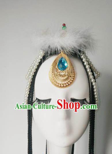Chinese Traditional Classical Dance Hair Accessories Zang Nationality Dance Headwear for Women
