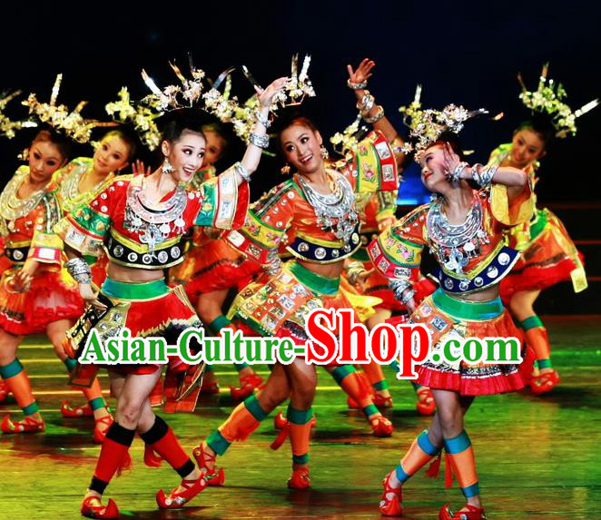 Chinese Traditional Miao Nationality Folk Dance Costume Classical Dance Clothing for Women