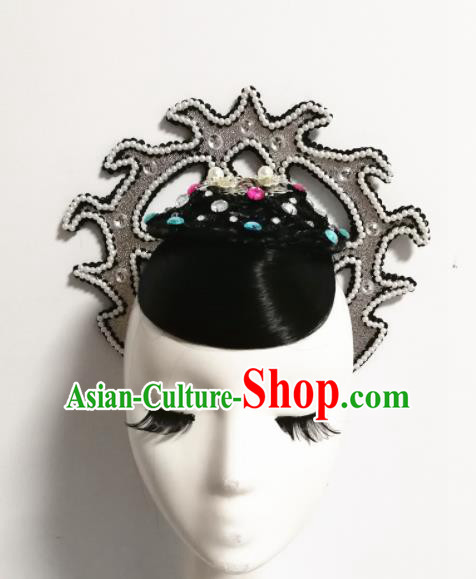 Chinese Traditional Classical Dance Headwear Folk Dance Wig and Hair Accessories for Women