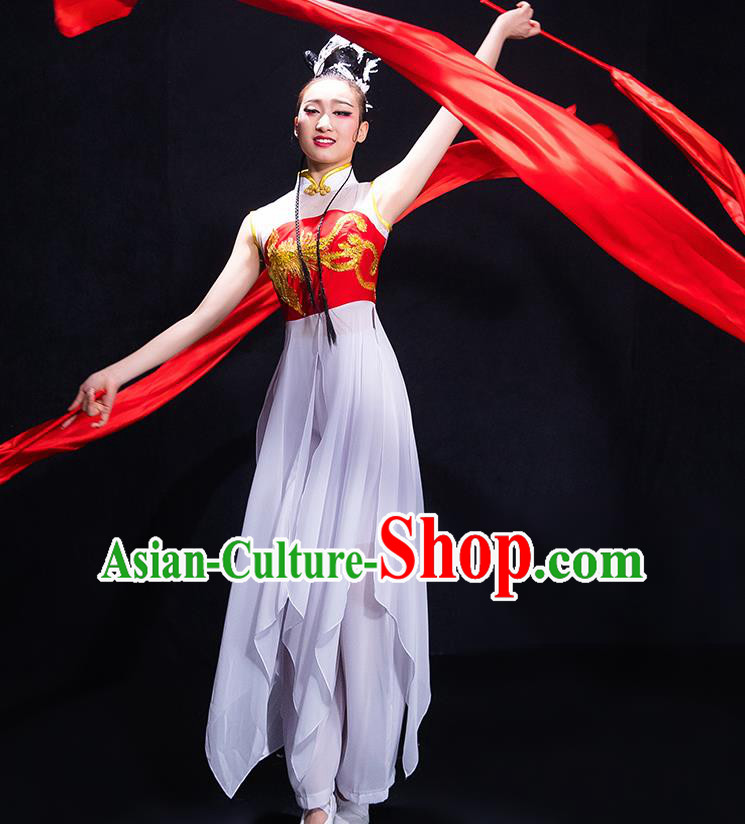 Chinese Traditional Classical Fan Dance White Dress Umbrella Dance Costume for Women