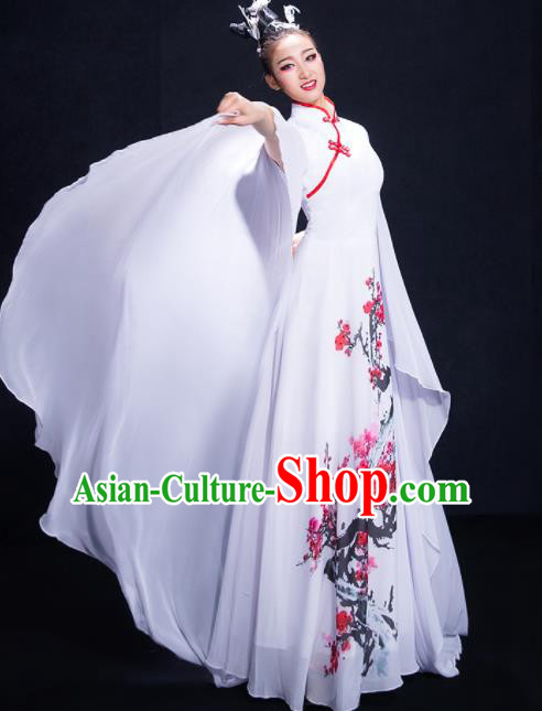 Chinese Traditional Classical Dance White Dress Umbrella Dance Costume for Women