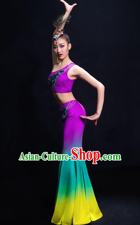 Chinese Traditional Peacock Dance Dress Classical Umbrella Dance Costume for Women