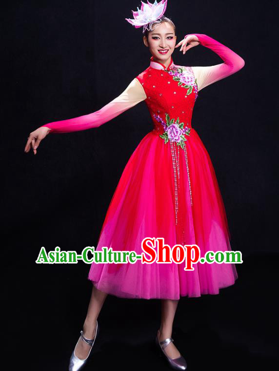 Chinese Traditional Fan Dance Rosy Dress Classical Umbrella Dance Costume for Women