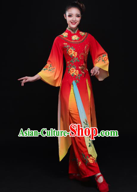 Chinese Traditional Classical Fan Dance Red Dress Umbrella Dance Costume for Women