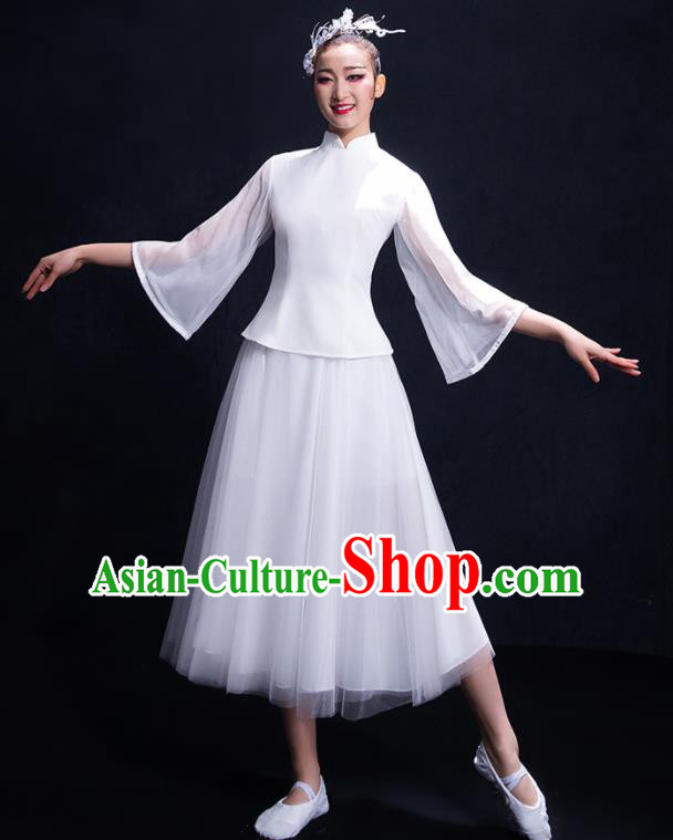 Chinese Traditional Umbrella Dance Chorus Clothing Classical Dance Costume for Women