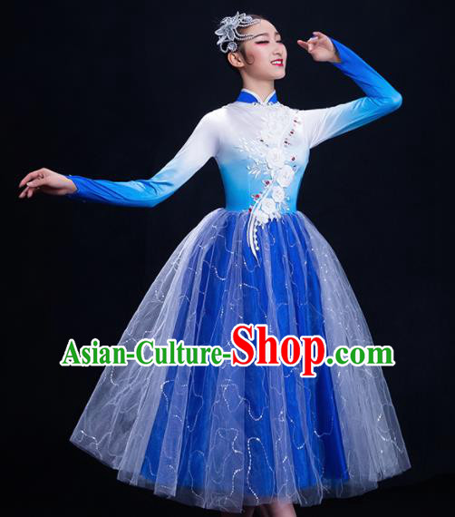Chinese Traditional Umbrella Dance Blue Dress Classical Dance Costume for Women