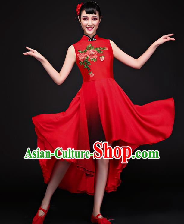 Chinese Traditional Umbrella Dance Red Dress Classical Dance Chorus Costume for Women