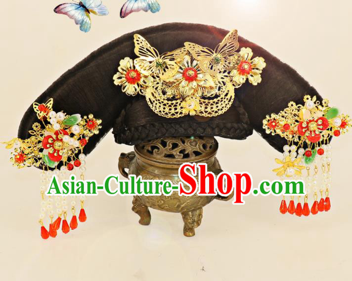 Chinese Traditional Drama Hair Accessories Ancient Qing Dynasty Princess Wig and Hairpins Headwear for Women