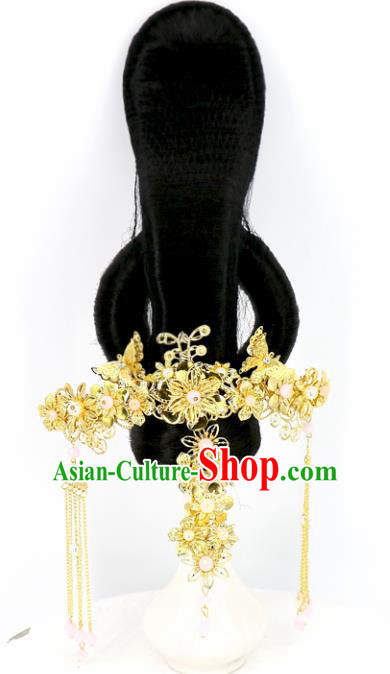 Chinese Traditional Drama Hair Accessories Ancient Tang Dynasty Queen Wig and Hairpins Headwear for Women