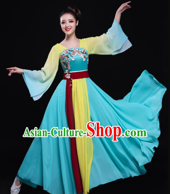 Chinese Traditional Classical Fan Dance Blue Dress Umbrella Dance Costume for Women