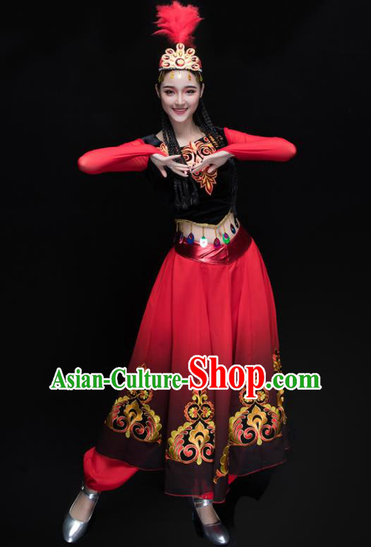Chinese Traditional Uigurian Folk Dance Clothing Uyghur Nationality Classical Dance Costume for Women