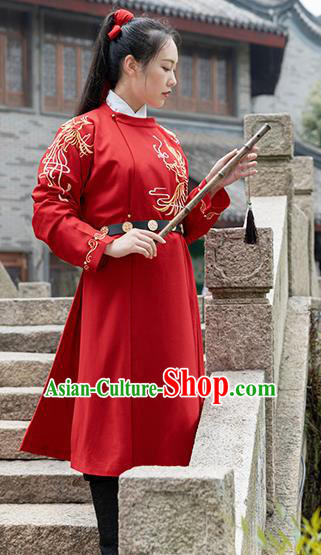 Chinese Traditional Ming Dynasty Swordswoman Costume Ancient Embroidered Red Robe for Women