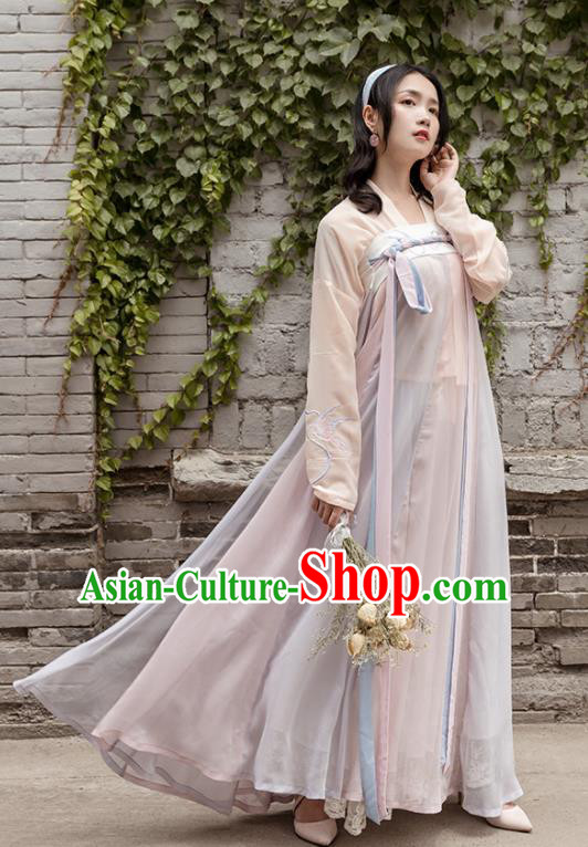 Chinese Traditional Tang Dynasty Costume Ancient Young Lady Embroidered Clothing for Women