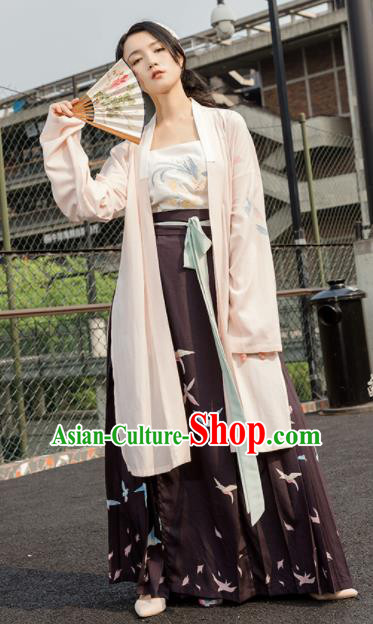 Chinese Song Dynasty Traditional Costumes Ancient Young Lady Embroidered Hanfu Dress for Women
