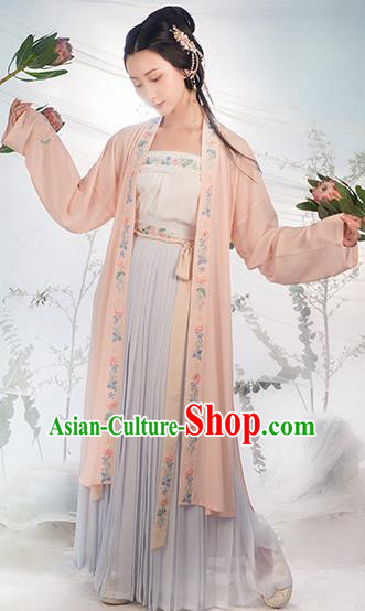 Traditional Chinese Song Dynasty Costumes Ancient Fairy Embroidered Hanfu Dress for Women