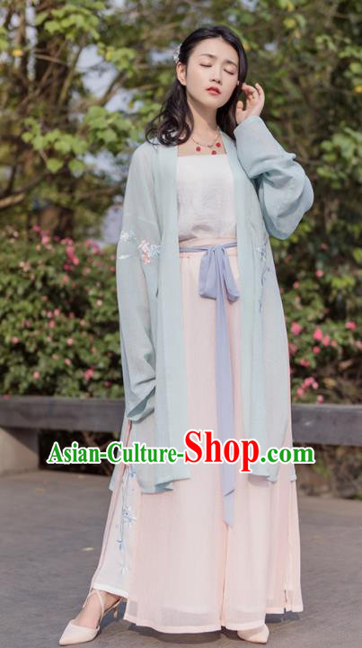 Traditional Chinese Song Dynasty Green Costumes Ancient Embroidered Hanfu Dress for Women