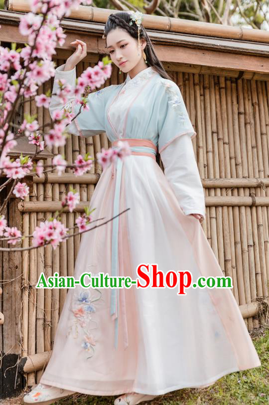 Traditional Chinese Ming Dynasty Young Lady Embroidered Costumes Complete Set for Women