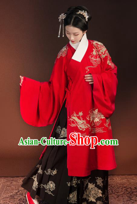 Traditional Chinese Ming Dynasty Wedding Embroidered Costumes Complete Set for Rich Women