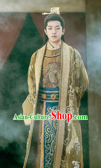 Chinese Traditional Ancient Emperor Hanfu Clothing Swordsman Embroidered Costumes for Men